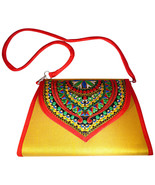 Zonnie Chanda Indian Embroidered Large Purse Yellow - $33.93