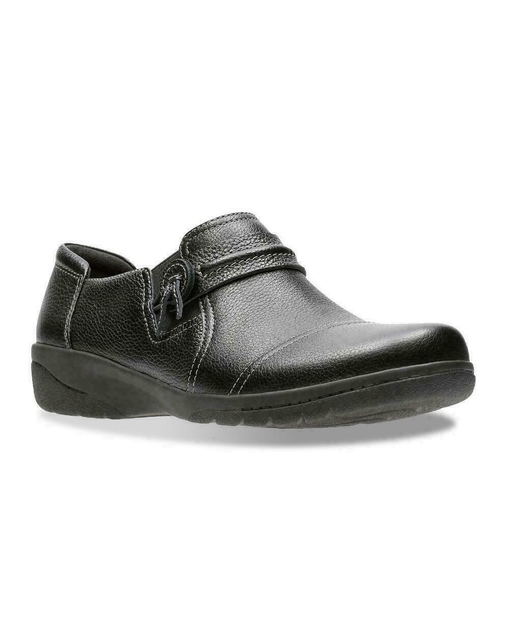 NEW CLARKS BLACK LEATHER WEDGE COMFORT WALKING PUMPS SIZE 8 M - $50.99