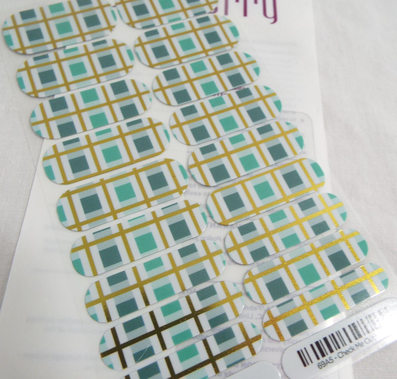 Primary image for Jamberry Check Me Out 0916 69A5 Nail Wrap Full Sheet