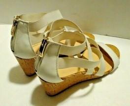 Liz Claiborne Womens Wedge Elastic Strap Sandals Size 8.5 M White Open Toe - $15.84