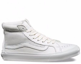VANS Sk8 Hi Slim Cutout (Square Perf) Blanc White Leather WOMEN'S 5 - $54.95