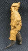 Antique 1900 German Black Forest Carved Wood Figural real Horns Hook Rack image 5