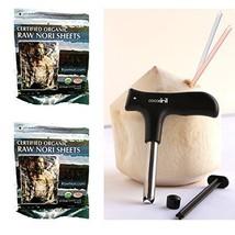 100 Raw Organic Nori Sheets COMBO + CocoDrill Coconut Opener Tool + Sush... - $43.55