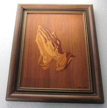 "Primary image for Walter G. Weiss Wood Inlay Marquetry Handcrafted Picture of ""Praying Hands"" Prof"