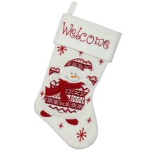 "15.75"" Red and White ""Welcome"" Snowman Embroidered Christmas Stocking w - $13.99"