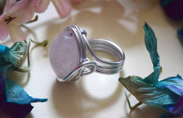 Natural Pink Quartz gemstone size 7 handmade silver wire ring handmade - $25.00