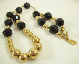 Vintage Park Lane Black Faceted Beads Gold Plate Chain Necklace Strand E... - £10.03 GBP