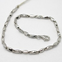 18K WHITE GOLD BRACELET ALTERNATE TUBE ONDULATE OVAL LINK, MADE IN ITALY image 1
