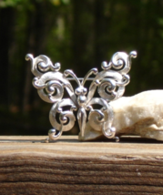 Vintage Crown Trifari© Ornate Scroll Butterfly Brooch, Silver - $145.00