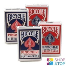 4 DECKS BICYCLE PINOCHLE PLAYING CARDS USA 2 BLUE 2 RED STANDARD INDEX NEW - $26.72