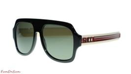 Gucci Men's Sunglasses GG0255S 001 Black Ivory Grey Lens 59mm Authentic - $266.75