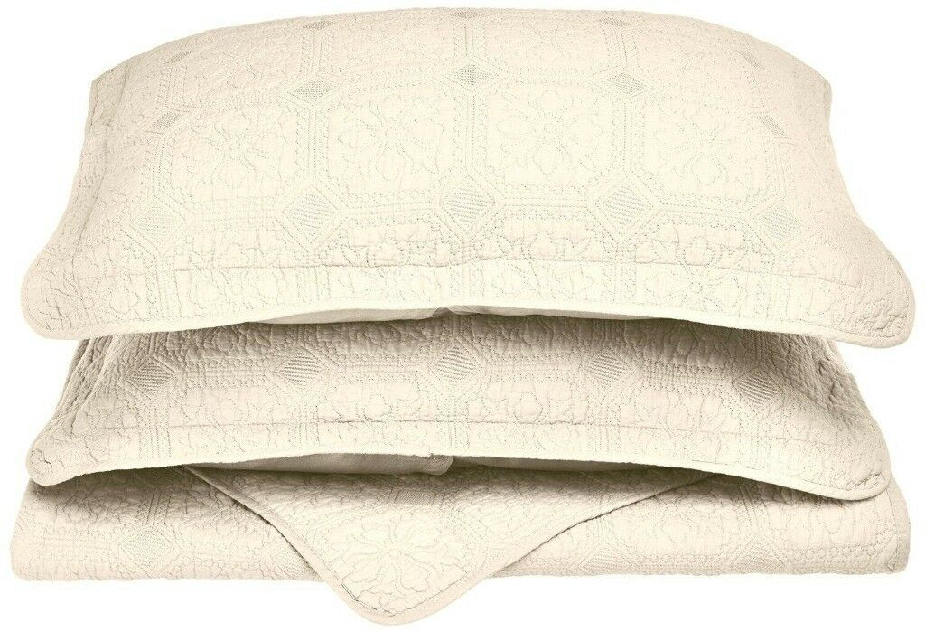 3-pc Ivory Full/Queen Superior Corrington Floral Stitched Quit & Pillow Shams - $89.05