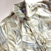 RJC Hawaiian Aloha Shirt Green Leaves Reverse Print Large Made in Hawaii - $34.60