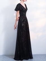 BLACK Sleeved High Waist Maxi Sequin Dress Floor Length Sequin Wedding Dresses image 2