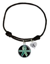 Custom Scoliosis Awareness Black Leather Unisex Bracelet Jewelry Choose Charm - $14.99