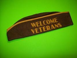 WW2 Welcome Veterans Felt Fabric Hat US Original Vintage Brown Yellow E... - $49.45