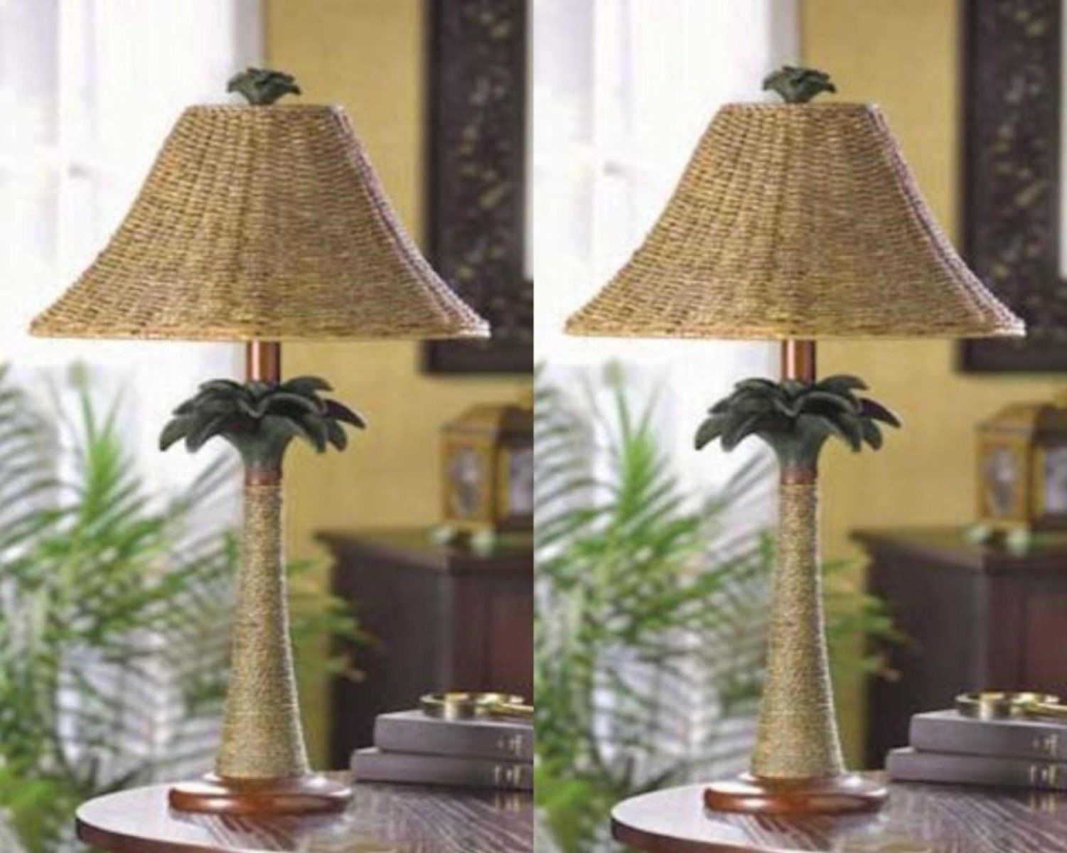 2 PALM TREE TABLE LAMPS Rattan Styled Tropical Decor