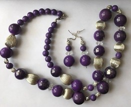 Purple Chunky Plastic Bead Necklace & Dangle Pierced Earring Fashion Jewelry Set - $10.39