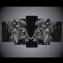 5 Pcs Black White Lion Mirror Home Decor Wall Picture Printed Canvas Pai... - $45.99+