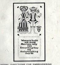 Vintage Needle 'N Hoops Cross Stitch Kit Humor Women's & Men Faults Kitsch - $21.52
