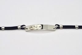 Bracelet en Argent 925 Rhodié avec Plaque avec Bicyclette Gravé et Corde 18 CM image 1
