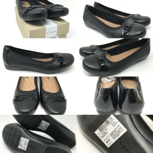 Clarks Cushioned Slip-On Flats Kinzie Light Black Leather Chain Detail At Toe