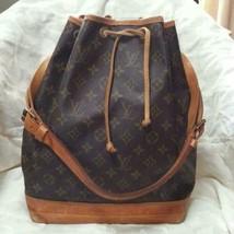 Auth Louis Vuitton Noe Monogram Shoulder Bag Brown Logo Leather Medium L... - $259.38