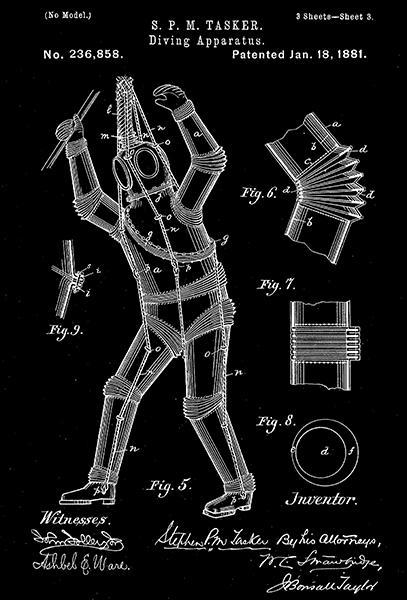 Primary image for 1881 - Armored Diving Suit - S. P. M. Tasker - Patent Art Poster
