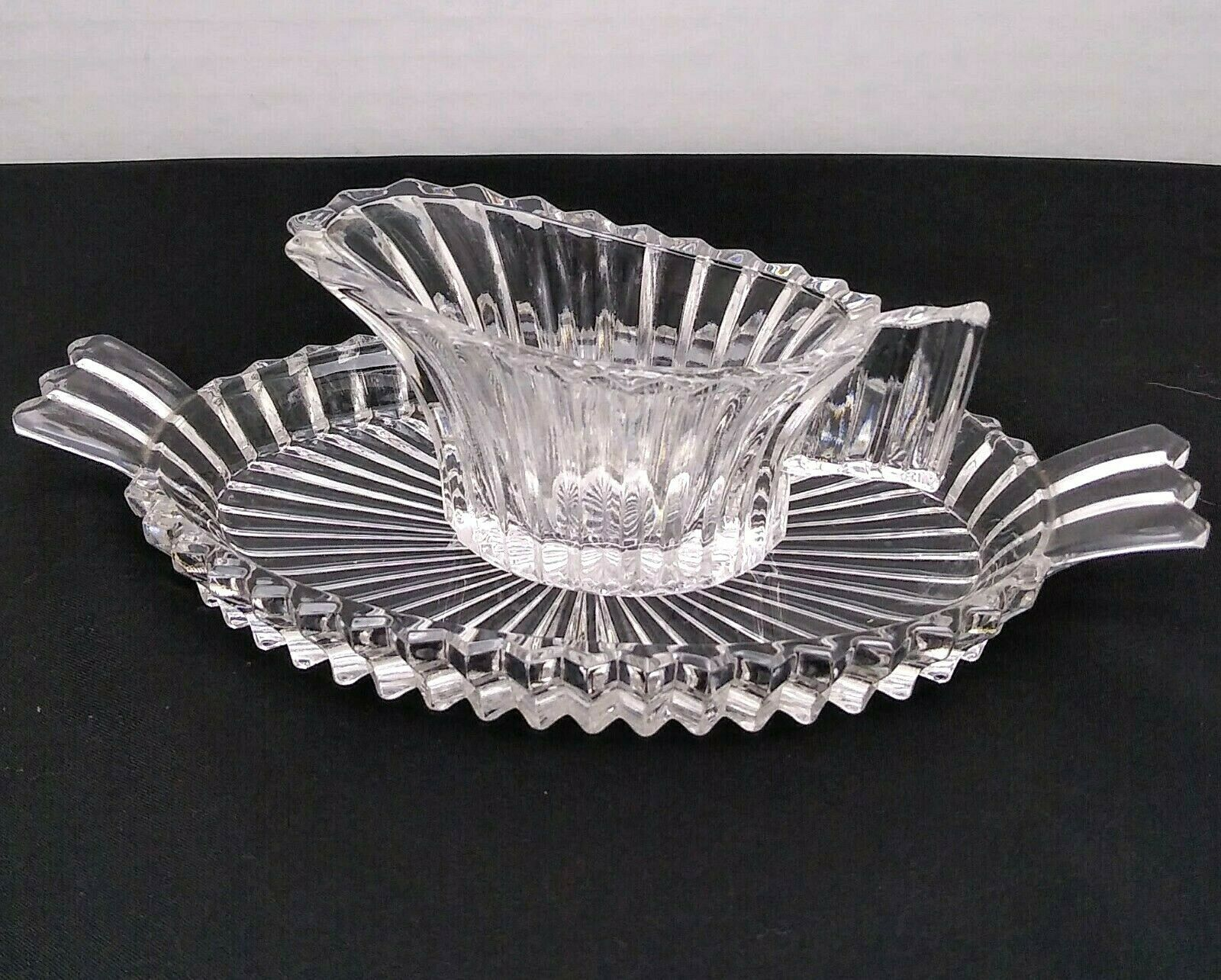 Primary image for Heisey Ridgeleigh Mini Individual Creamer and Undertray Pressed Ribbed Glass