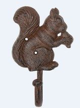 Squirrel Eating Oak Tree Acorn Single Hook 7 Inch Patio Porch Wall Decor - $25.76