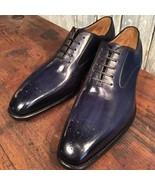 Burnished Brogue Toe Genuine Purple Tone Premium Leather Formal Men Oxfo... - $139.99+