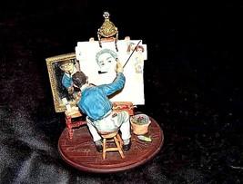 Figurine of a Triple self-portrait by Norman RockwellAA18-1355 Vintage image 1