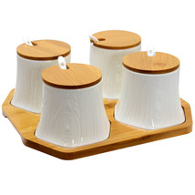 Elama Ceramic Spice, Jam and Salsa Jars with Bamboo Lids & Serving Spoons - £28.49 GBP