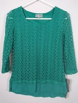 JM Collection Womens Lace Turquoise Top Blouse Size Petite Small NWT $54 L12 - $14.95