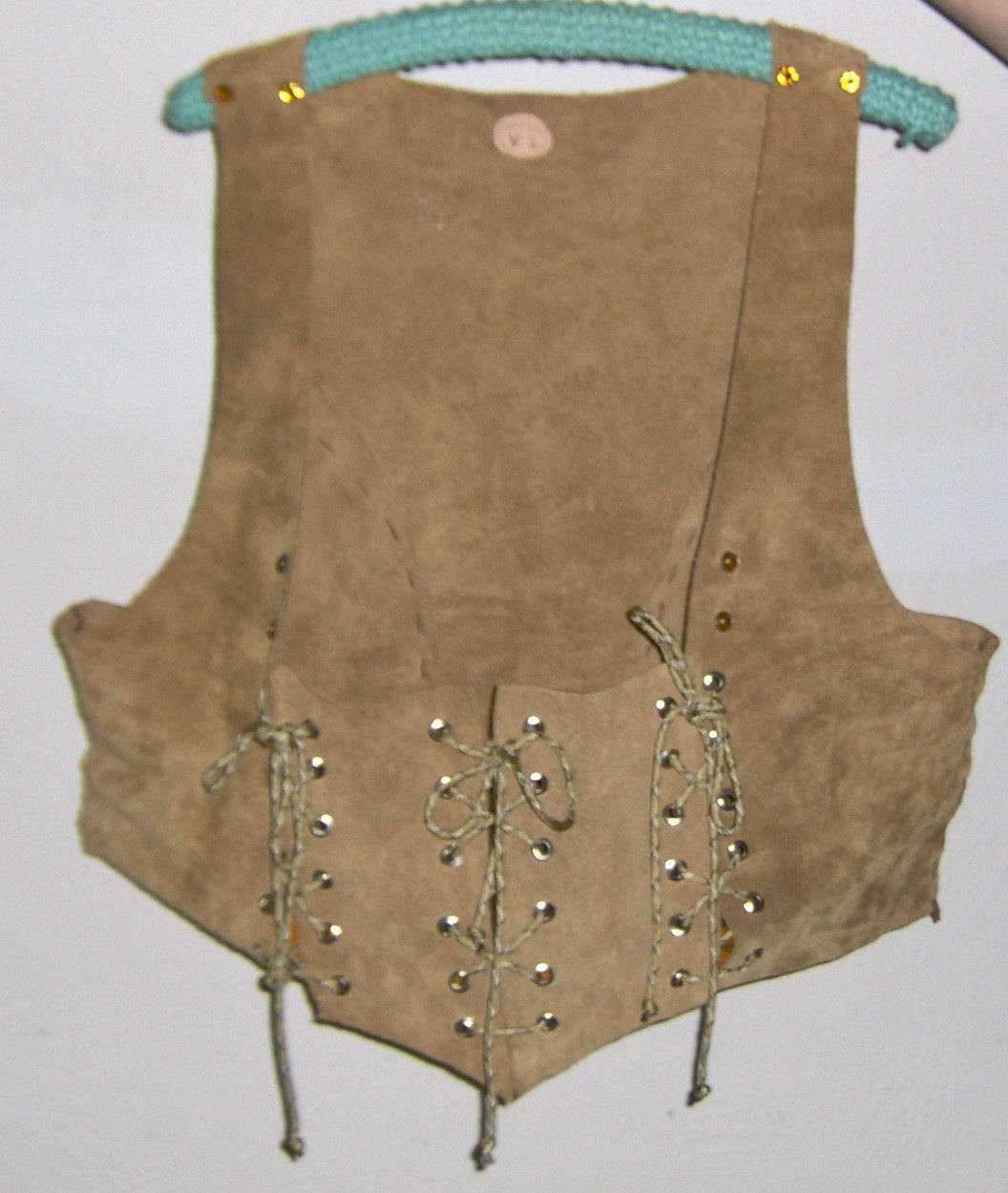 Custom Made! Suede Renaissance Festival Corset Vest Leather, Brown Gold Studs