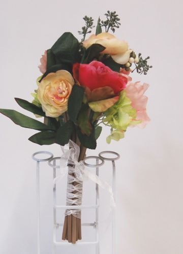 Teters A50340 Mix Peony Rose Berry Artificial Bouquet 12 Stems White Ribbon Wrap