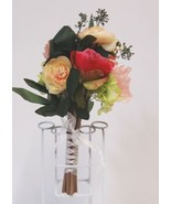 Teters A50340 Mix Peony Rose Berry Artificial Bouquet 12 Stems White Rib... - £12.67 GBP