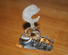 """Dolphin Figurine Frosted Glass Riding Clear Glass Wave Figurine  -  3"""" x... - $6.99"""