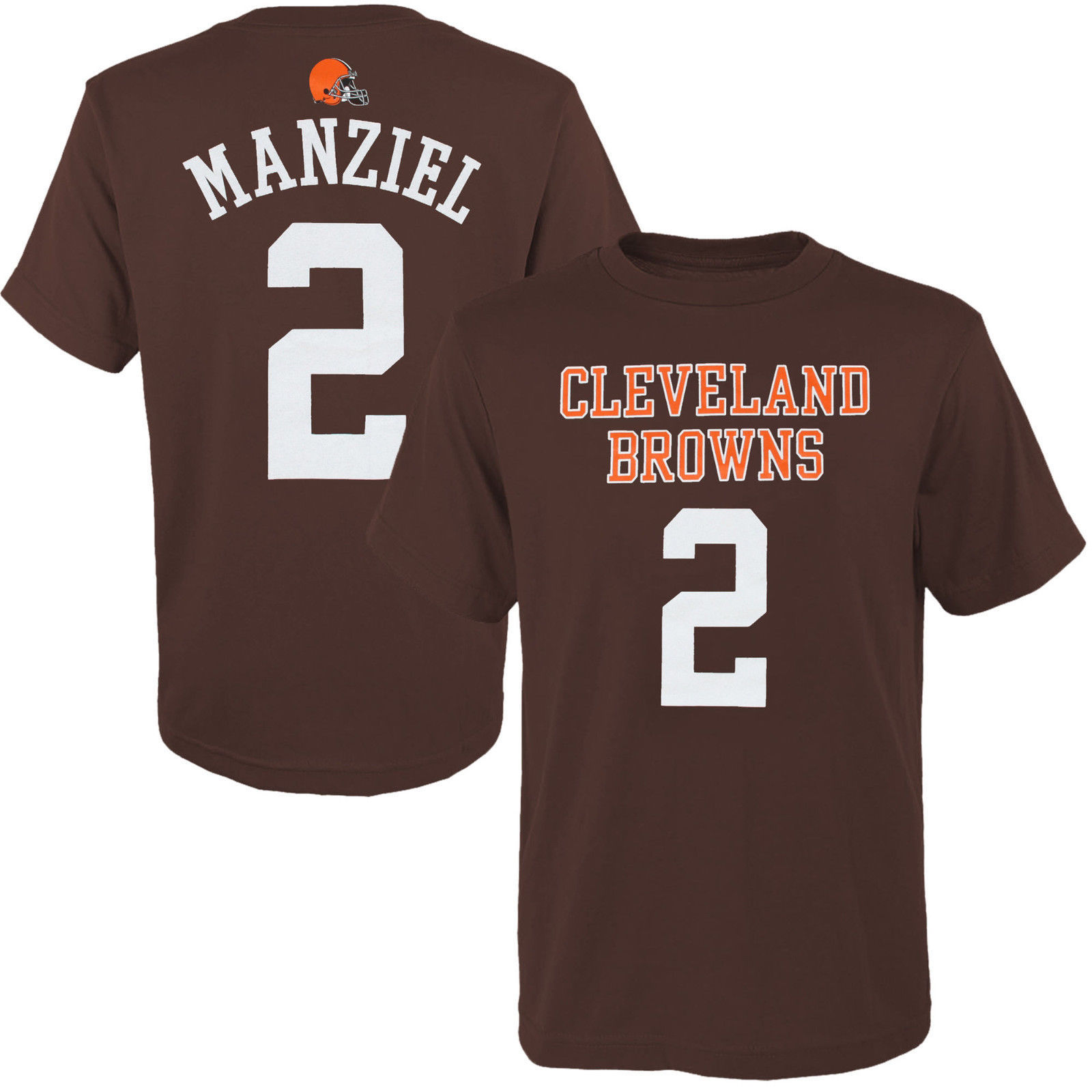 Boy's Johnny Manziel Shirt Cleveland Browns Youth Player Tee NFL Football