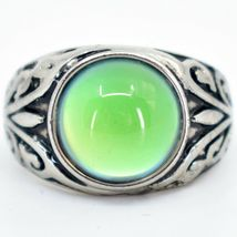 Vintage Inspired Silver & Black Painted Color Changing Round Cabochon Mood Ring image 5