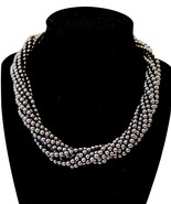 Tiffany & Co Sterling Silver Hematite Beaded Torsade Necklace - $618.75