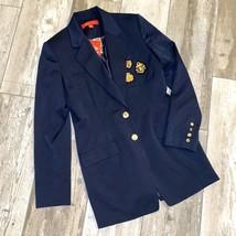 Navy Blue Blazer Jacket Patches Preppy Anne Klein - $62.08