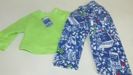 """18"""" doll clothes hand made pajama outfit green blue cell phone laptop to... - $8.90"""