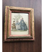 Vintage Small Wooden Framed Print Of Woman With Boy And Girl Wall Hanging - $9.30