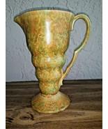 """Flaxman Ware Wade Heath No 301 Art Deco 9"""" Vase Vtg 1930's Gold Green JUG - $39.59"""