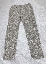Womens White Tan Floral  Charter Club Jean Shop  Skinny Ankle Pants Sz 4 - $9.10