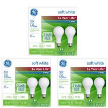 GE 6 PK 30 / 70 / 100 W Life Soft White Light Bulb 3 Way Incandescent image 1