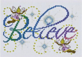 Design Works Believe Cross Stitch Kit, 5x7in, aida, fairies - $12.49