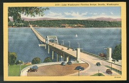 Lake Washington Floating Bridge Seattle Curteich Vintage Linen Postcard - $4.99