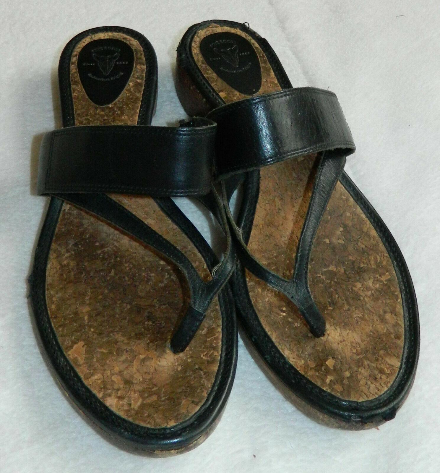 Frye Chelsea Flip Flops Thongs Sandals Sz 10 Black Leather Wood Strappy   r